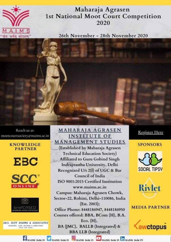 Maharaja Agrasen 1st National Moot Court Competition, 2020